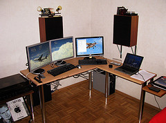 Working area with four PCs
