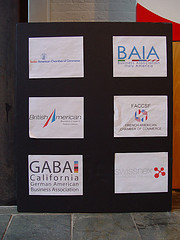 Various company logos on a bulletin board