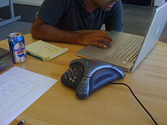 Man teleconferencing over a pc